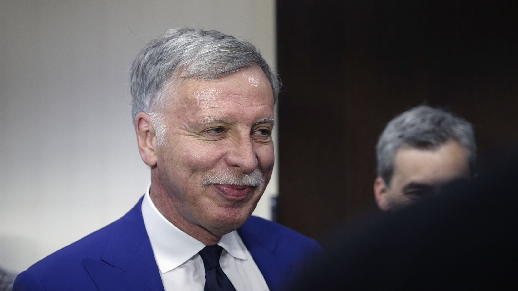 Los Angeles Rams owner Stan Kroenke attends a news conference in Los Angeles. Kroenke bought the Waggoner Ranch in Feburary. Now, residents around Lake Diversion 30 miles west of Wichita Falls will have to leave their homes by the end of February (AP Photo/Jae C. Hong, File)