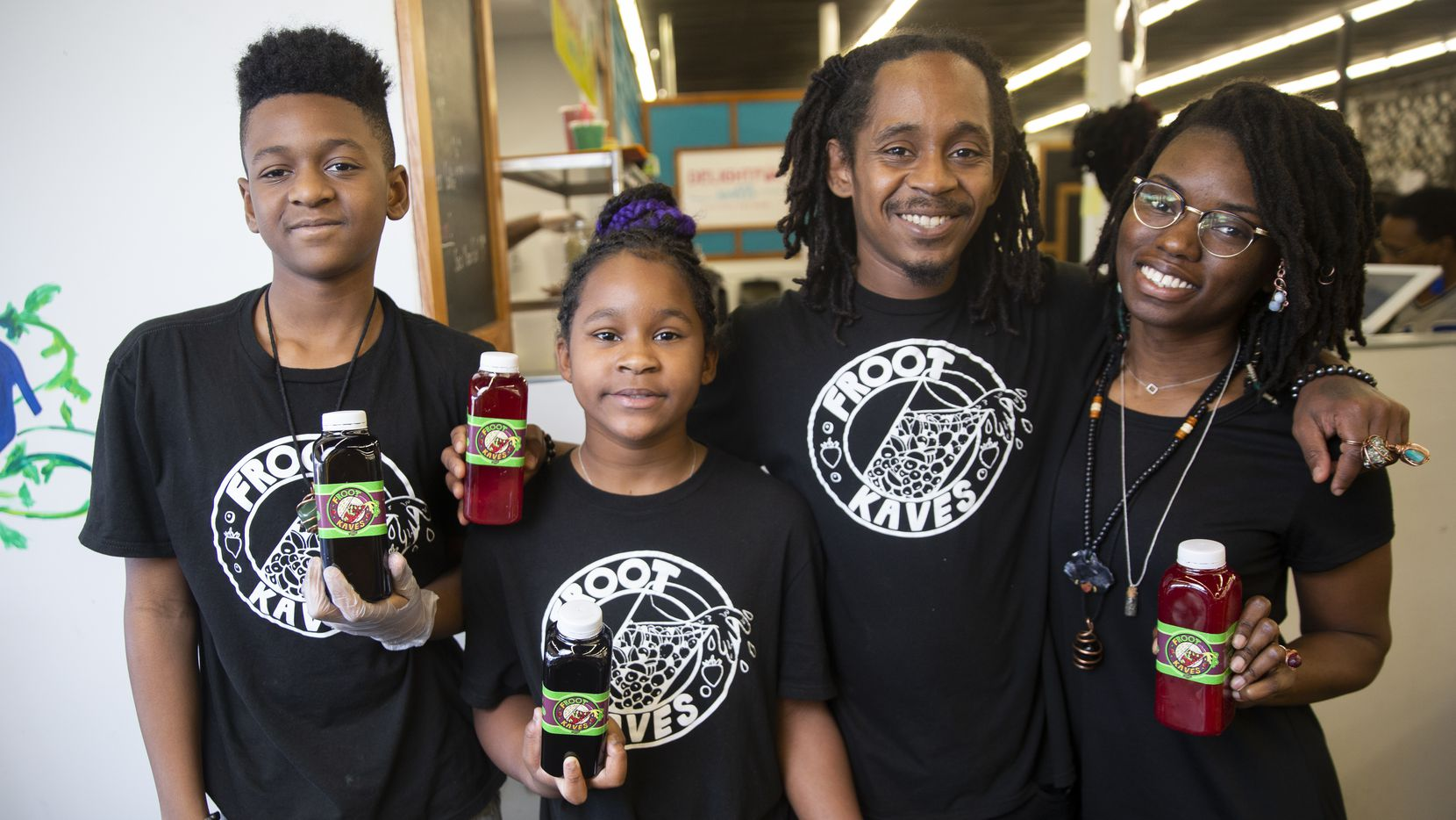 Marquise II, Kar'mel, Marquise McBride and Sarina Daniels of Froot Kaves have sold their lemonade at Grow DeSoto Market Place.