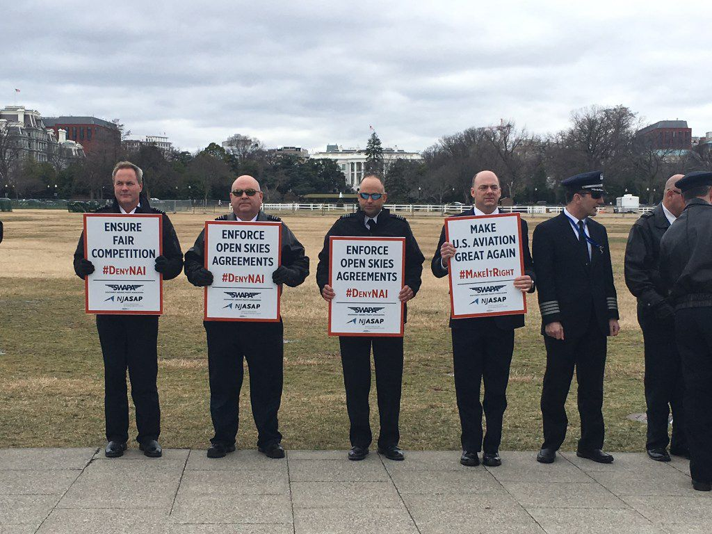 American pilots picket outside the White House Jan. 24 against a decision to allow a Norwegian airline company to service the U.S. (Jamie Lovegrove/Staff)