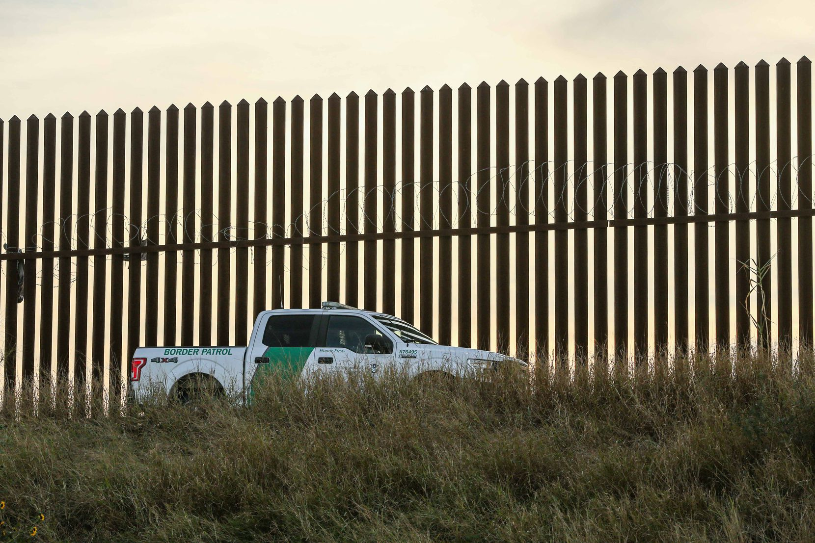 Border patrol watches over near the border with Mexico in Hidalgo, Texas on Wednesday, January 13, 2021.