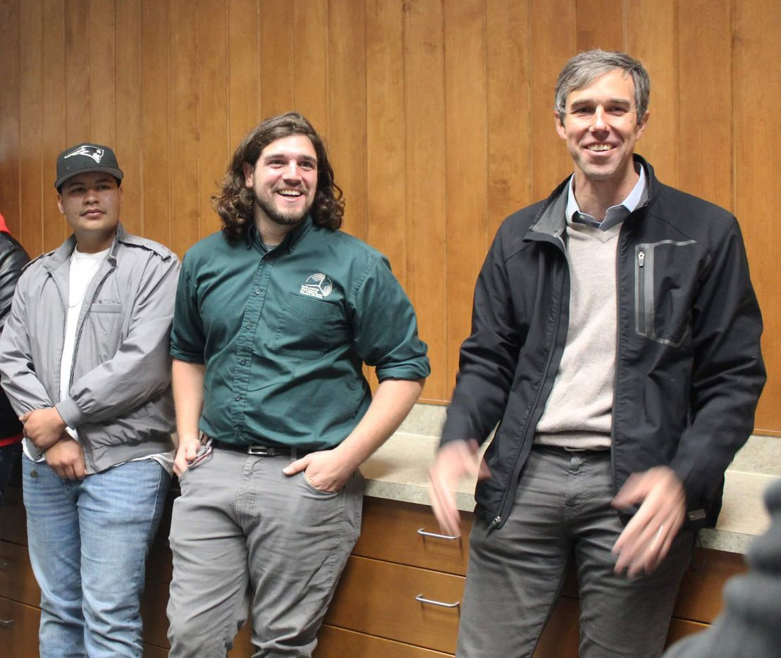 Beto O'Rourke visits Mesalands Community College in Tucumcari, N.M., on Jan. 15, 2019.  Photo courtesy Brandon Smith (left, in green shirt.)