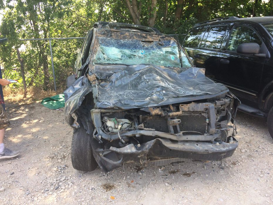 Tomecia Dodd's SUV was severely damaged in the crash early Sunday, but her family survived.