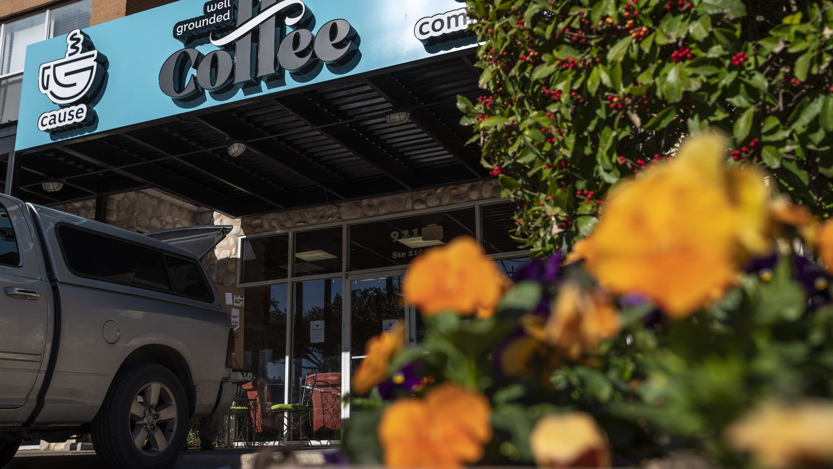 Well Grounded Coffee Community is located at Garland Road and N. Buckner Boulevard in East Dallas.