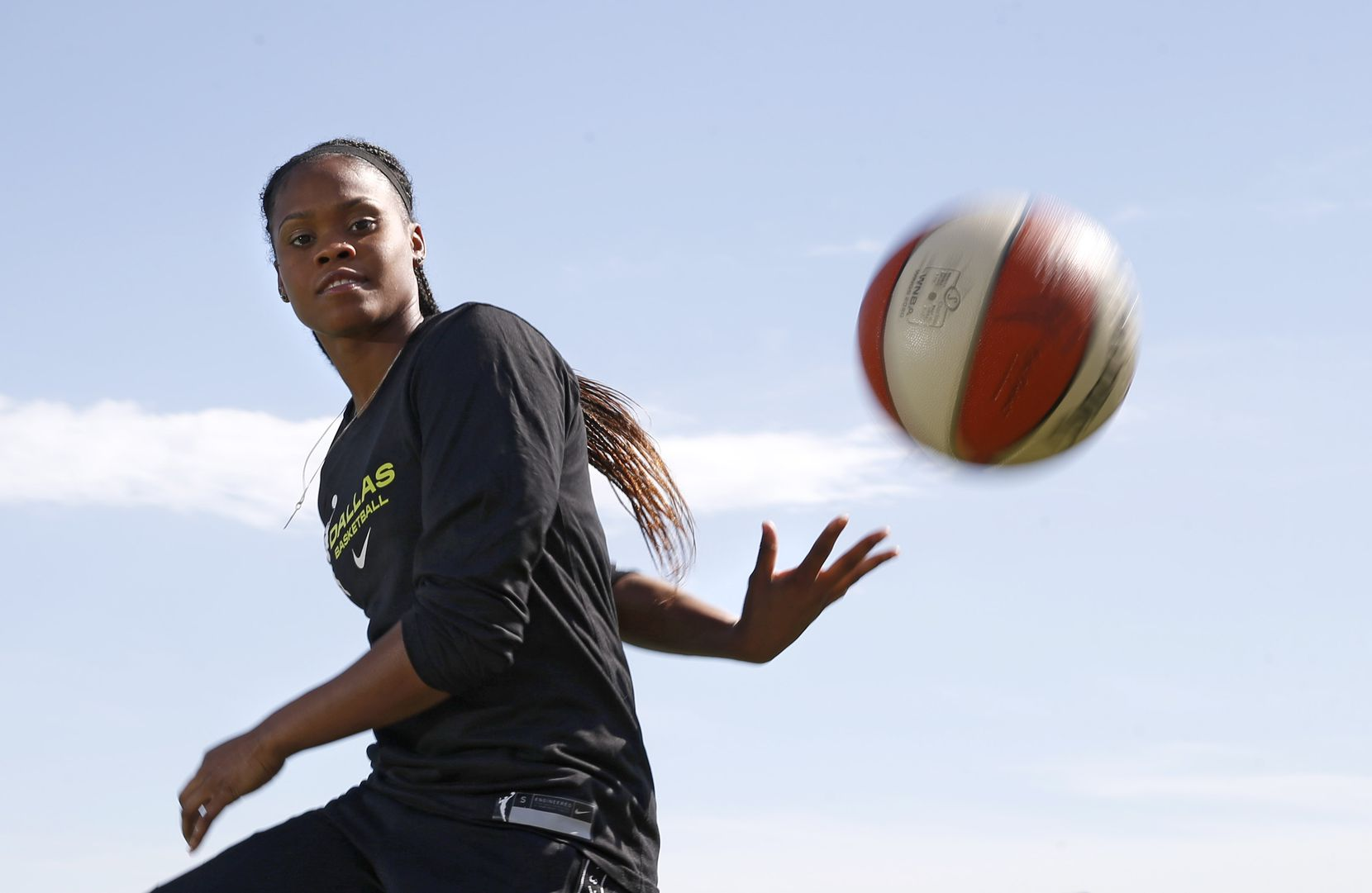 Dallas Wings Moriah Jefferson poses for a portrait near her home in Frisco, on Wednesday, May 27, 2020. (Vernon Bryant/The Dallas Morning News)