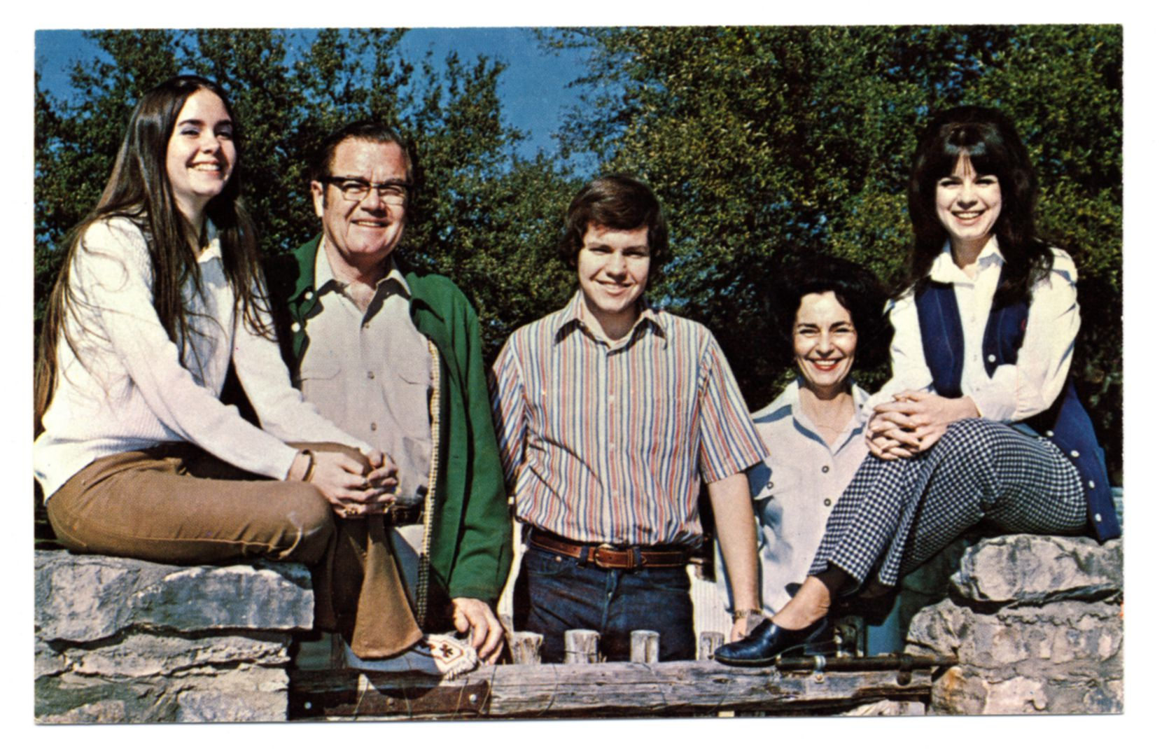 Dolph (second from left) and Janey Briscoe (second from right) are shown in an official campaign portrait with their children Janey, Dolph III (Chip) and Cele at the Frio Ranch. Dolph Briscoe Jr. was elected Texas governor in 1972. (The Dolph Briscoe Center for American History, The University of Texas at Austin)