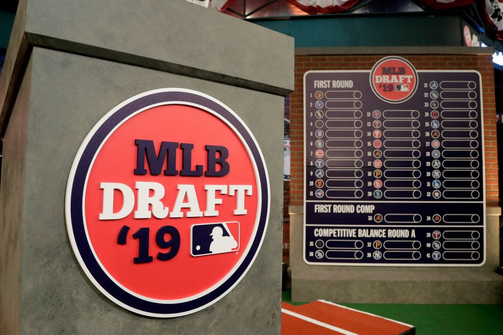 The rostrum is viewed at the MLB Network prior to the first round of the Major League Baseball draft, Monday, June 3, 2019, in Secaucus, N.J. (AP Photo/Julio Cortez)