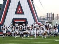 The Allen Eagles in the field to face Denton Guyer in a District 5-6A high school football game played at the C.H. Collins Complex on Friday, October 15, 2021, in Denton. (Steve Nurenberg/Special Contributor)
