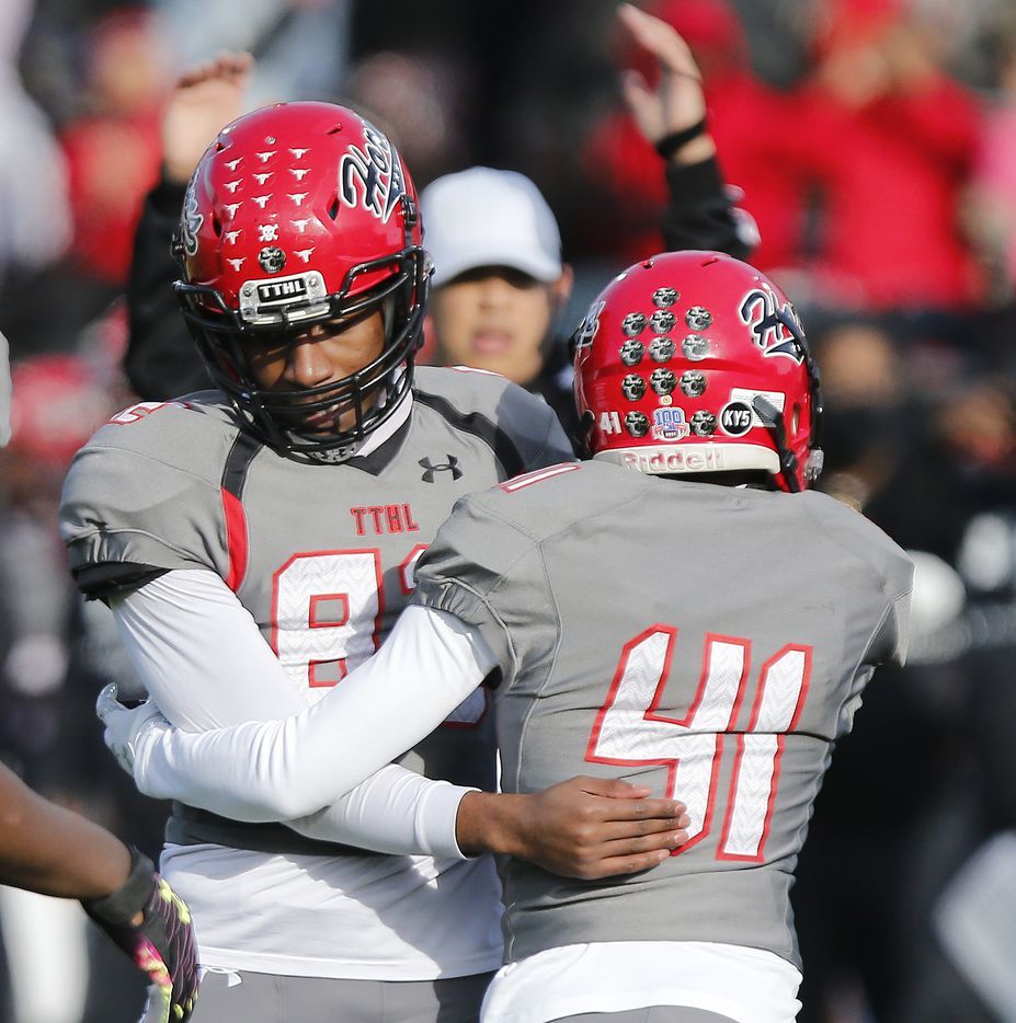 Cedar Hill High School kicker Jadon Cardell (82) is congratulated by his holder William Rhodes (41) after a field goal put the game out of reach near the end of the game as Denton Guyer High School played Cedar Hill High School in the Class 6A Division II, state semifinal at McKinney ISD Stadium in McKinney on Saturday, January 9, 2021.  (Stewart F. House/Special Contributor)