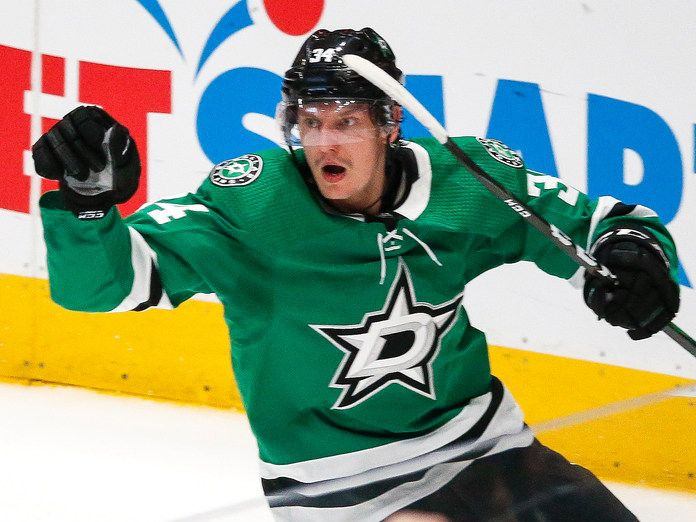 Dallas Stars right wing Denis Gurianov (34) celebrates after scoring during the second period of a NHL matchup between the Dallas Stars and the Tampa Bay Lightning on Monday, Jan. 27, 2020 at American Airlines Center in Dallas. (Ryan Michalesko/The Dallas Morning News)