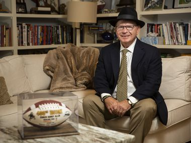 Highland Park football coach Randy Allen poses for portraits in his Highland Park home on Nov. 9, 2019 in Dallas. Highland Park beat Lancaster 42-35 in overtime on Nov. 1 for Allen's 400th career win.