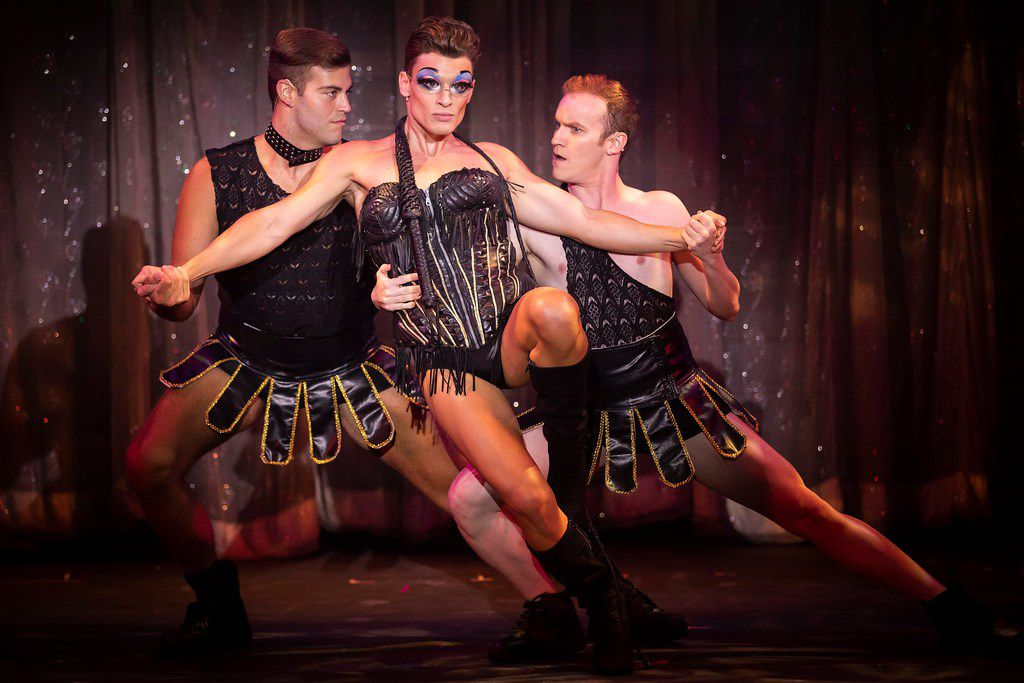 Blake McIver (center) plays Adam/Felicia in Priscilla, Queen of the Desert by Uptown Players at Kalita Humphreys Theater.