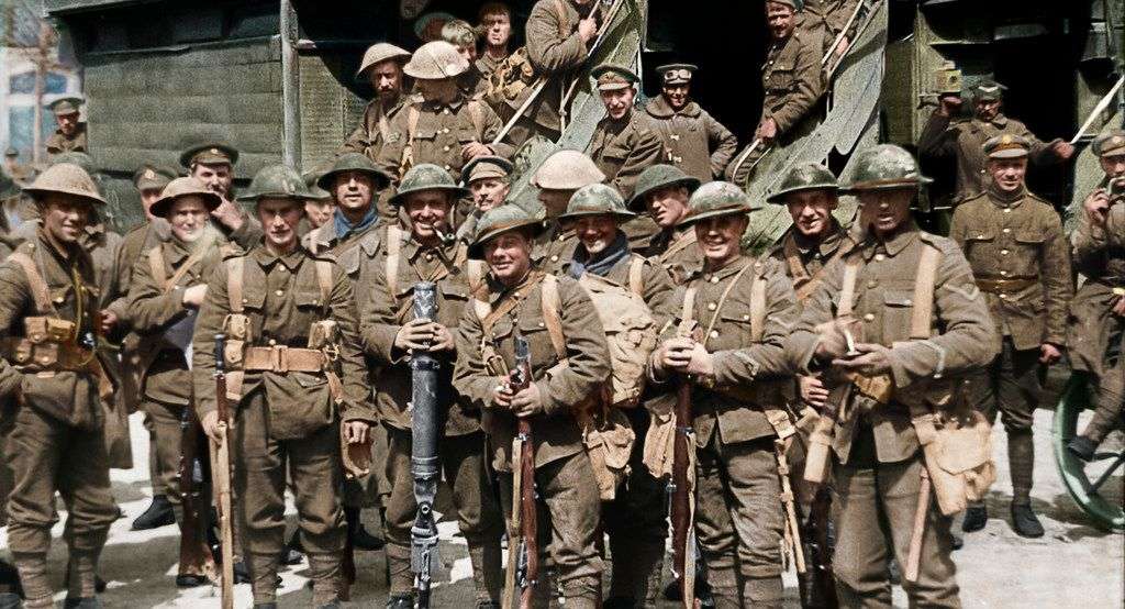 A scene from the WWI documentary They Shall Not Grow Old, directed by Peter Jackson.