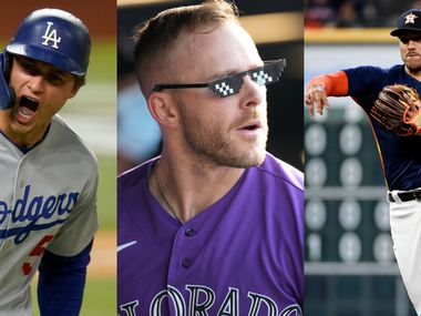 Los Angeles Dodgers shortstop Corey Seager (left), Colorado Rockies shortstop Trevor Story (middle) and Houston Astros shortstop Carlos Correa (right) can be seen in this photo illustration. (Photo credits: Eric Gay, David Zalubowski and Eric Christian Smith of The Associated Press)