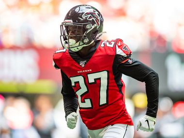 Damontae Kazee #27 of the Atlanta Falcons looks on during a game against the Los Angeles Rams at Mercedes-Benz Stadium on October 20, 2019 in Atlanta, Georgia.