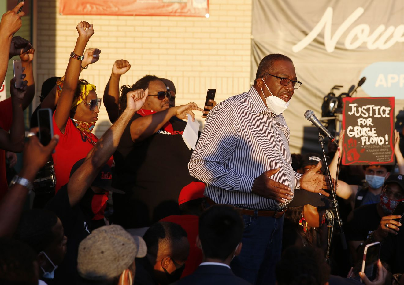 Texas Senator Royce West speaks to protesters during a demonstration against police brutality in downtown Dallas, on Friday, May 29, 2020. George Floyd died in police custody in Minneapolis on May 25.