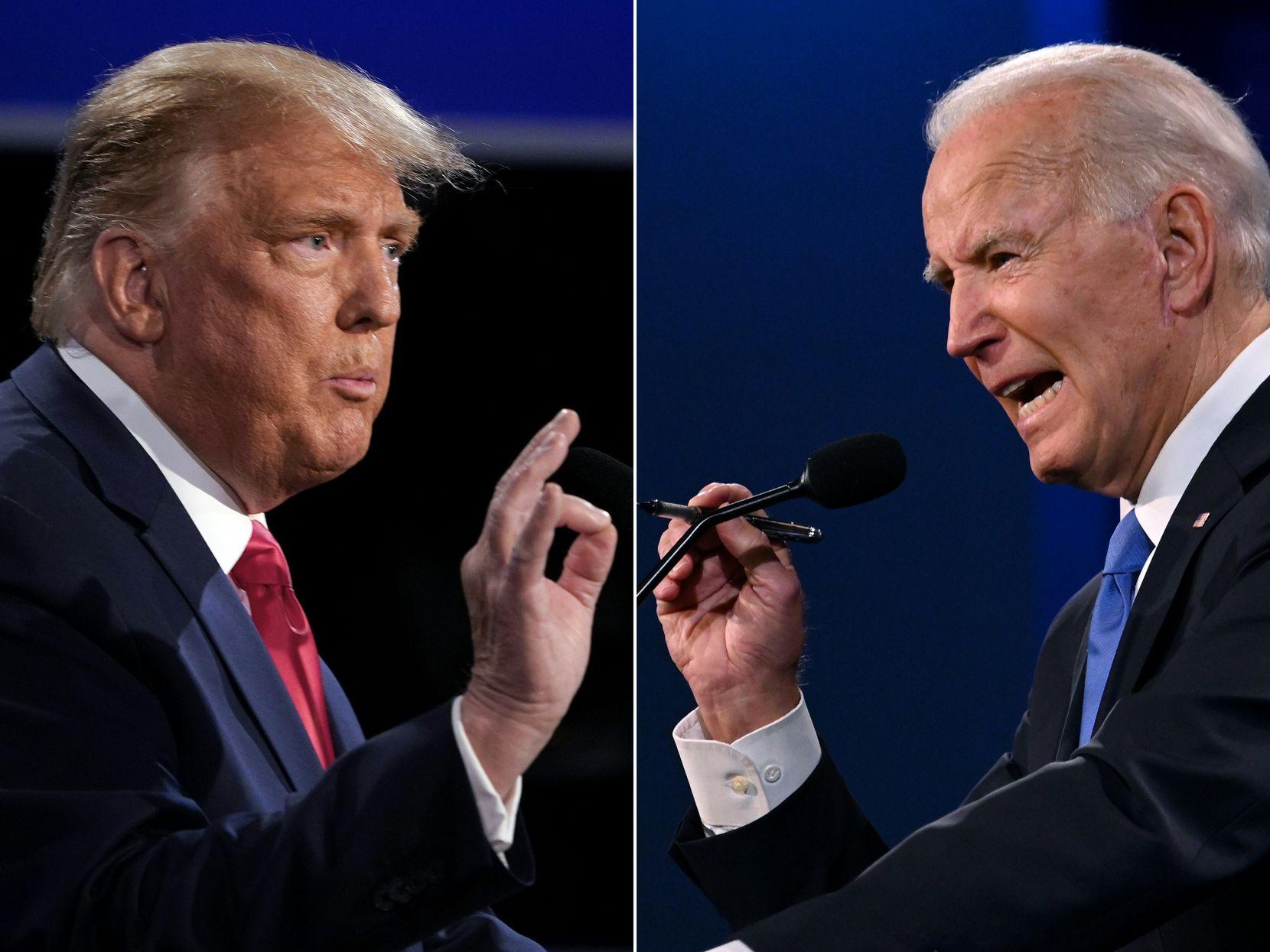 President Donald Trump and former Vice President Joe Biden debate at Belmont University in Nashville, Tennessee, on October 22, 2020.