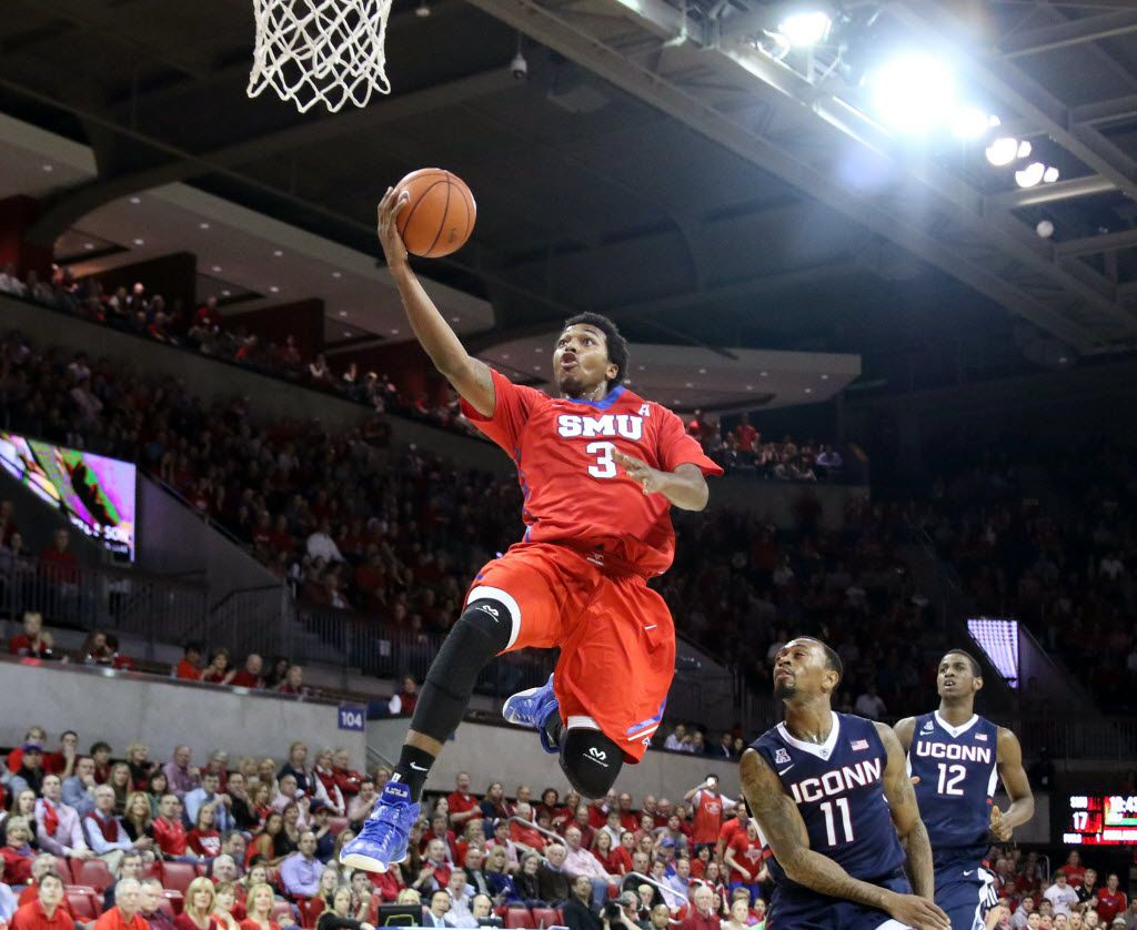 SMU guard Sterling Brown breaks away for a layup during the first half of an NCAA basketball game between the SMU Mustangs and the University of Connecticut Huskies on Saturday, Feb. 14, 2015 in Dallas. (Gregory Castillo/The Dallas Morning News) 02152015xSPORTS