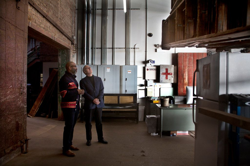 Theaster Gates (left) and Nasher Sculpture Center director Jeremy Strick at Gates' studio in Chicago on Dec. 20, 2017.