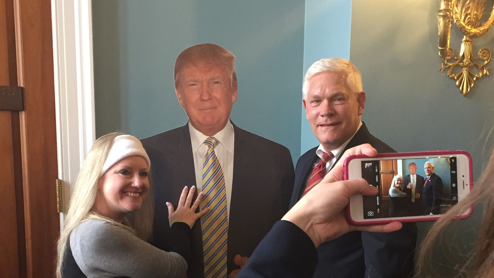 Allison Chaffin, of Lake Fork, stands for a photo with Dallas Rep. Pete Sessions on Thursday, Jan. 19, 2017, the day before President-elect Donald Trump takes the oath of office. (Katie Leslie/Staff)