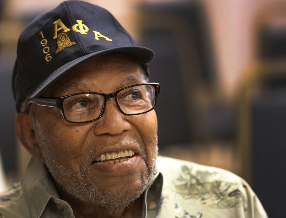 93-year-old fraternity member Clarence Russeau is pictured during the Alpha Phi Alpha Fraternity meeting in Dallas.