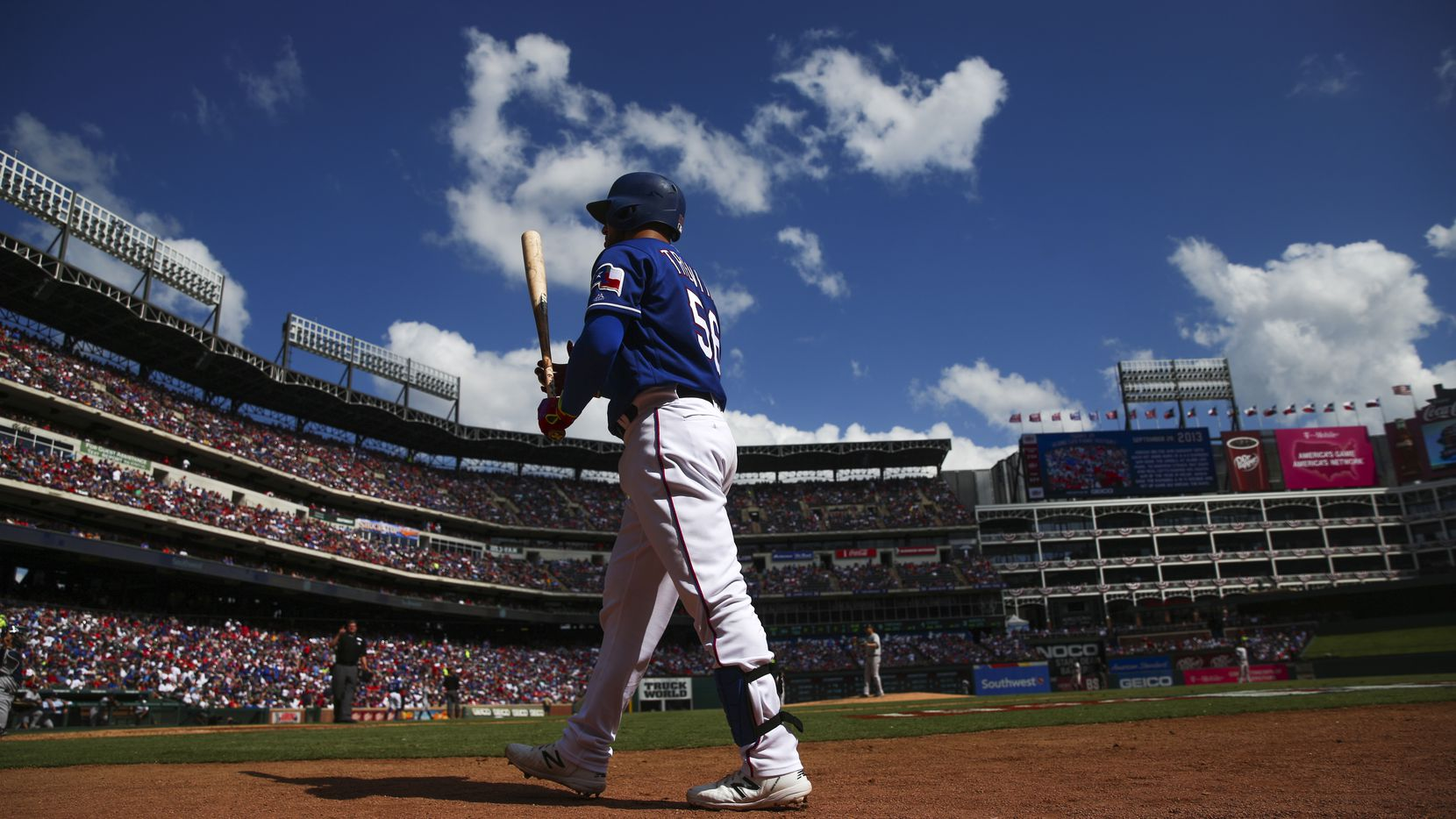 Texas Rangers catcher Jose Trevino (56) walks up to bat during a MLB game between Texas Rangers and New York Yankees on Sunday, September 29, 2019 at Globe Life Park in Arlington, Texas. (Shaban Athuman/Staff Photographer)