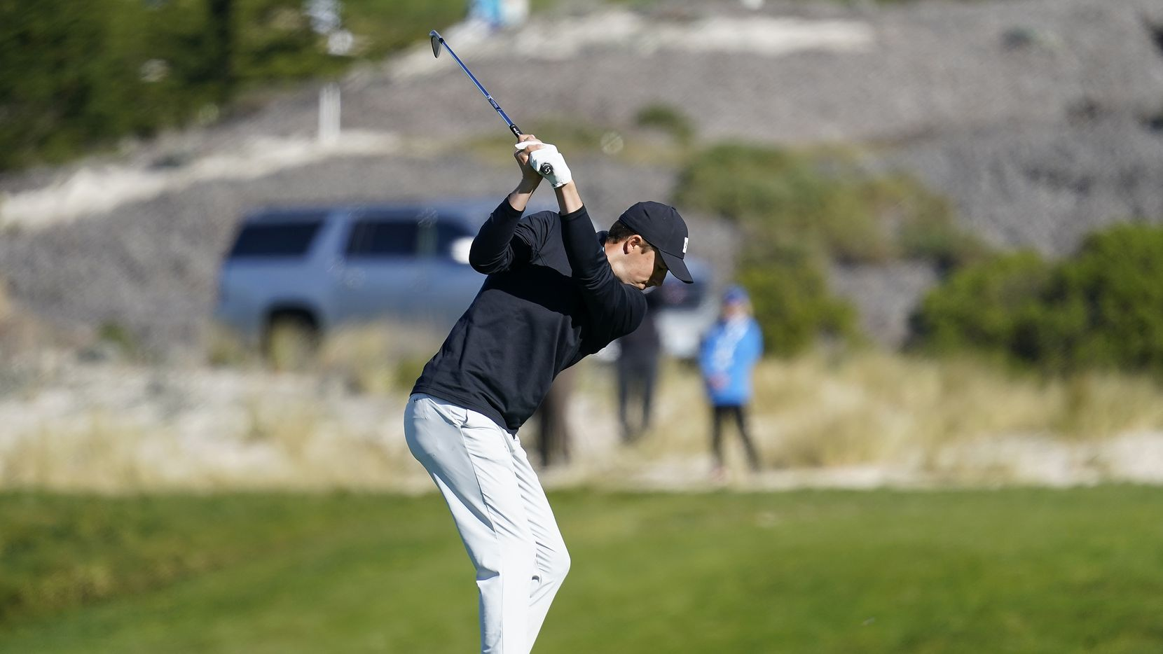 Jordan Spieth hits off the fourth fairway of the Spyglass Hill Golf Course during the first round of the AT&T Pebble Beach National Pro-Am golf tournament Thursday, Feb. 6, 2020, in Pebble Beach, Calif. (AP Photo/Tony Avelar)
