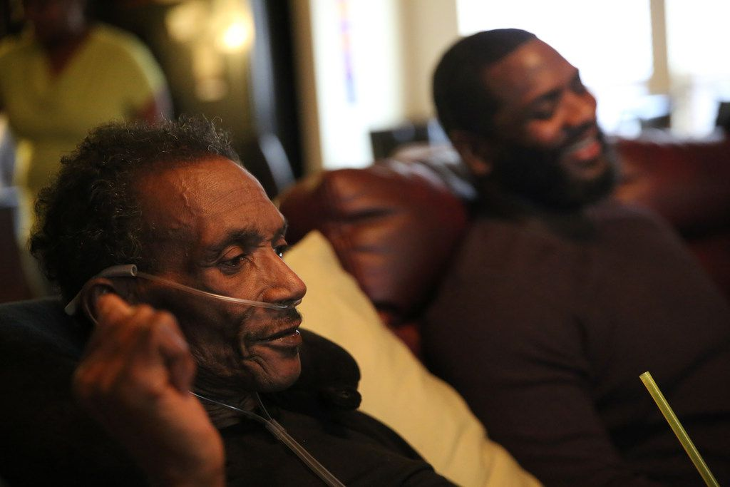 Johnnie Lindsey visited with fellow exoneree Christopher Scott at Lindsey's home last Saturday.