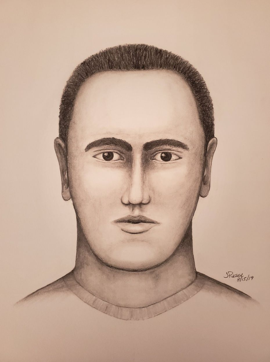 A police sketch of the man suspected of grabbing and kissing two women in McKinney.