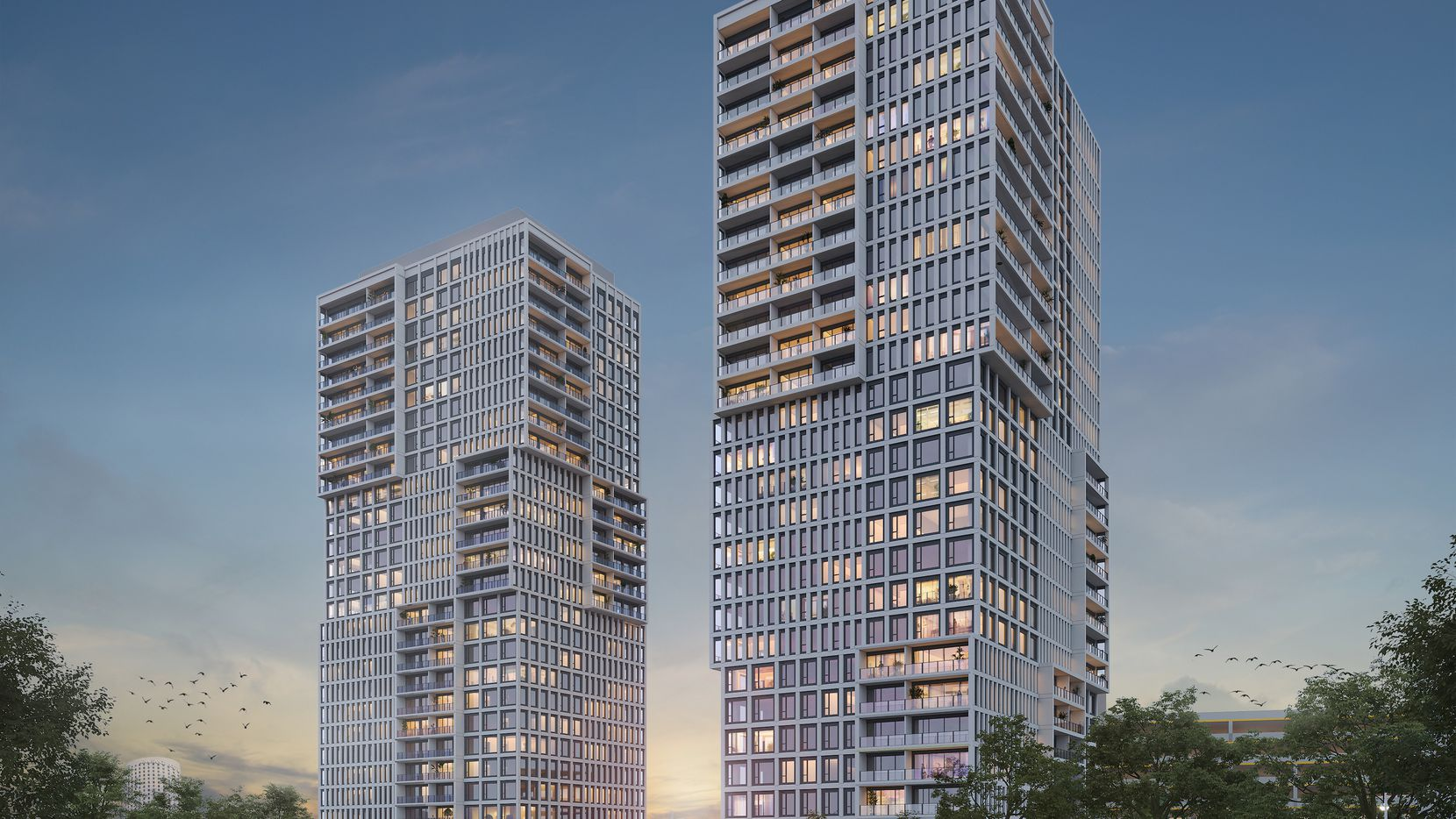 The 27-story tower that has started construction is one of three planned for the site near Stemmons Freeway.
