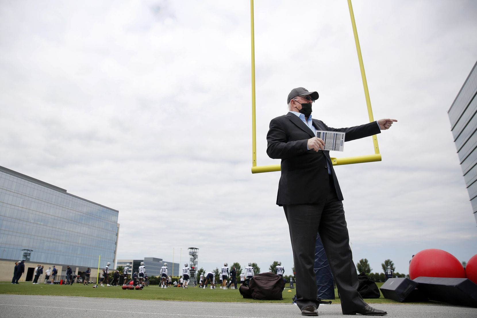 Before rookie minicamp began, Dallas Cowboys owner Jerry Jones came over to update the media on new COVID-19 protocols at the The Star in Frisco, Texas, Friday, May 14, 2021. He is fully vaccinated and encourages everyone to get vaccinated as well. Masks will be optional at The Star. (Tom Fox/The Dallas Morning News)