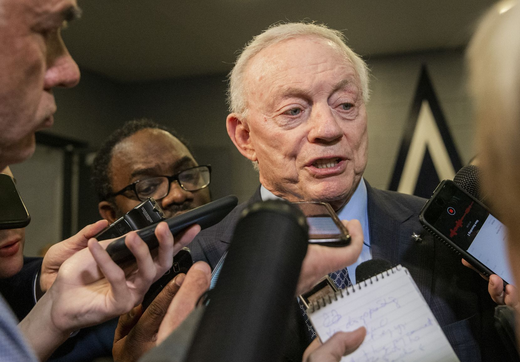 FILE - Cowboys owner Jerry Jones speaks with members of the media following a game between Washington and Dallas on Sunday, Dec. 29, 2019, at AT&T Stadium in Arlington.