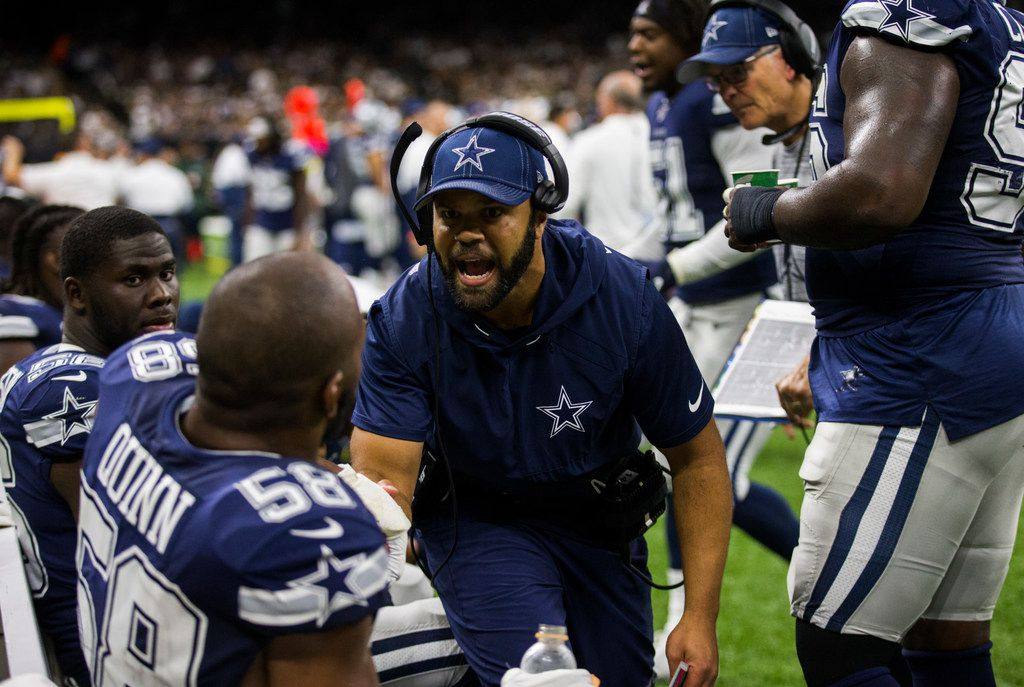 Dallas Cowboys passing game coordinator and defensive backs coach Kris Richard (center) and defensive coordinator Rod Marinelli (second from right) coach defensive players on the sideline during the second quarter of an NFL game between the Dallas Cowboys and the News Orleans Saints on Sunday, September 29, 2019 at Mercedes-Benz Superdome in New Orleans, Louisiana. (Ashley Landis/The Dallas Morning News)