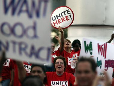 Members of the AFL-CIO union rallied in support of UNITE HERE Local 355 members in Miami.