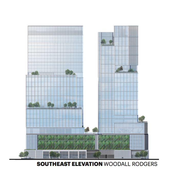 The two towers would be on the north side of Woodall Rodgers Freeway.