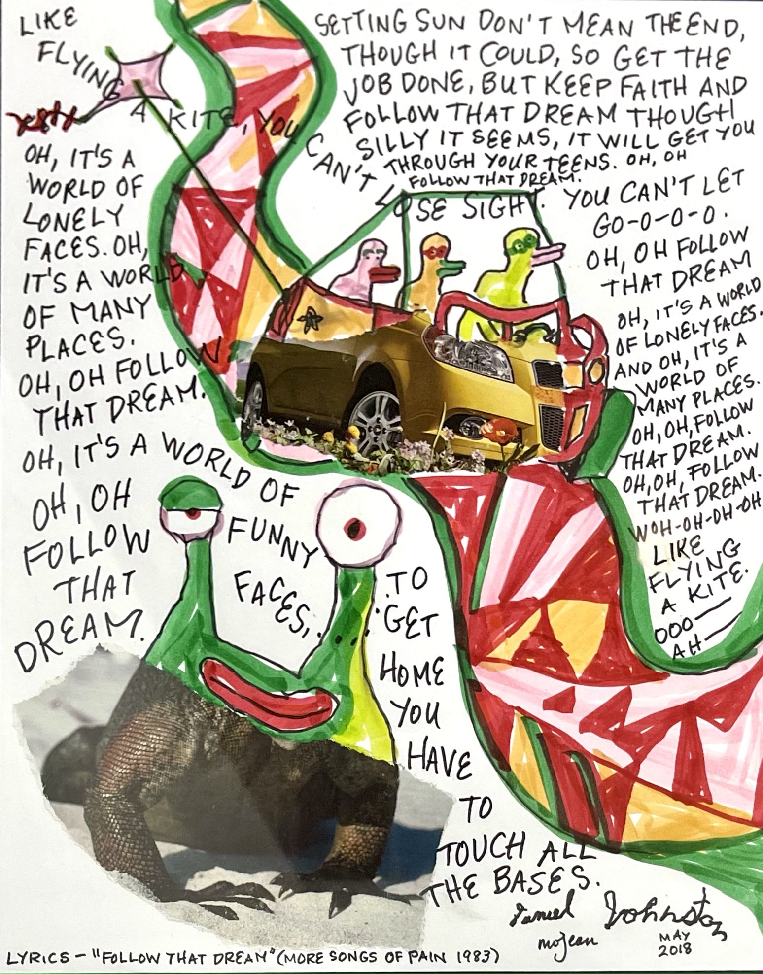 """Daniel Johnston and Marjory Johnston collaborated on the 2018 work """"Follow That Dream."""""""