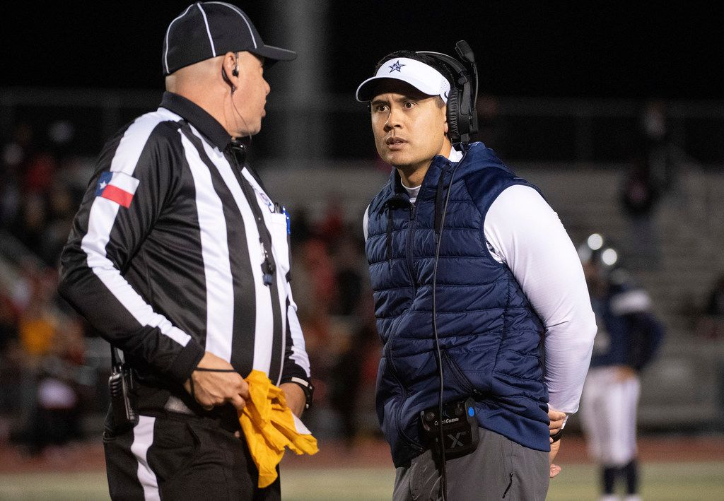 FILE - Frisco Lone Star head coach Jeff Rayburn disputes a false start call during the first half of a bi-district round high school football playoff game against Mansfield Legacy Friday, November 16, 2018 at Memorial Stadium in Frisco, Texas. (Jeffrey McWhorter/Special Contributor)