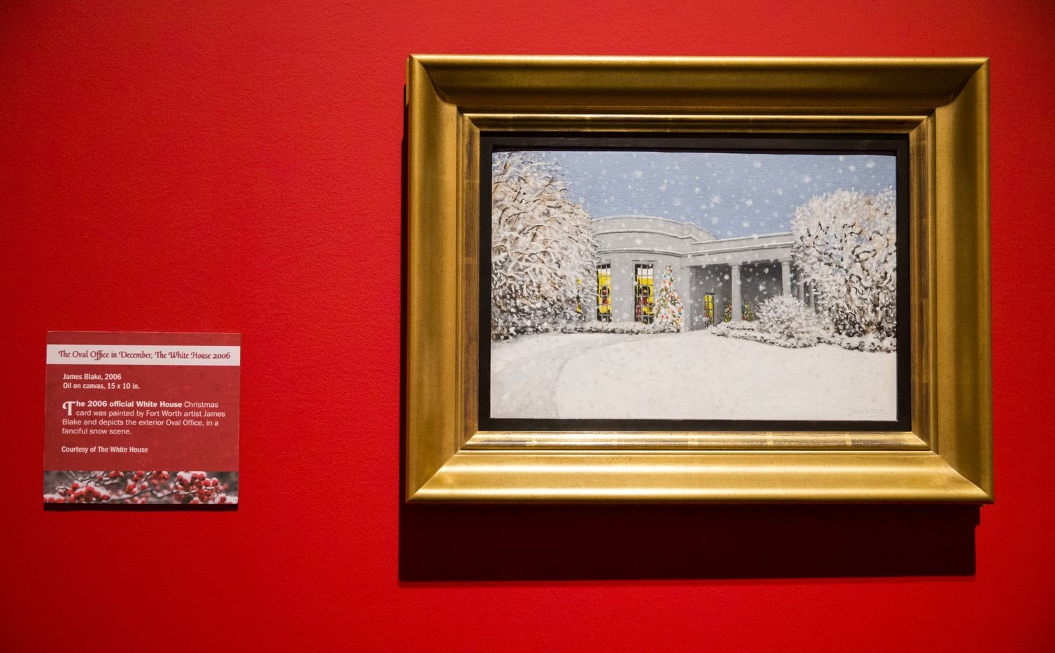A painting by James Blake of the White House at Christmas time is displayed at a Christmas exhibit at The George W. Bush Presidential Center and Library on Thursday, November 15, 2018 on the SMU campus in Dallas. This year's theme is Deck the Halls and Welcome All: Christmas at the White House 2006. (Ashley Landis/The Dallas Morning News)