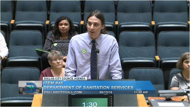 Environmental activist Corey Troiani spoke to Dallas City Council in favor of a new multi-family housing recycling ordinance on June 13.