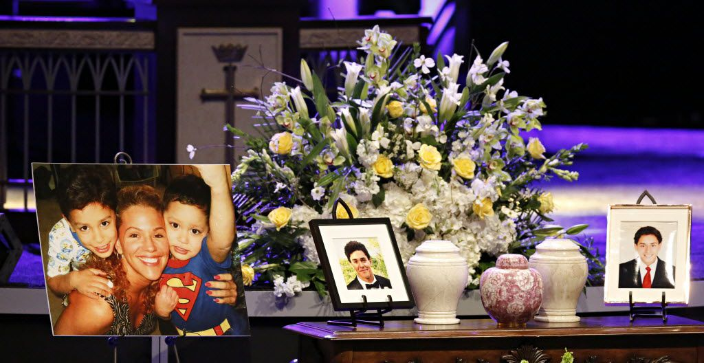 Urns containing the remains of Stacy Fawcett and her sons, McCann Utu Jr. and Josiah Utu, were displayed during a memorial service in April at Prestonwood Baptist Church.