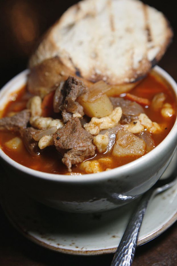 Now this is goulash: Mama's Gulyas, with beef, onion,s peppers, potatoes,  carrots, garlic and more.