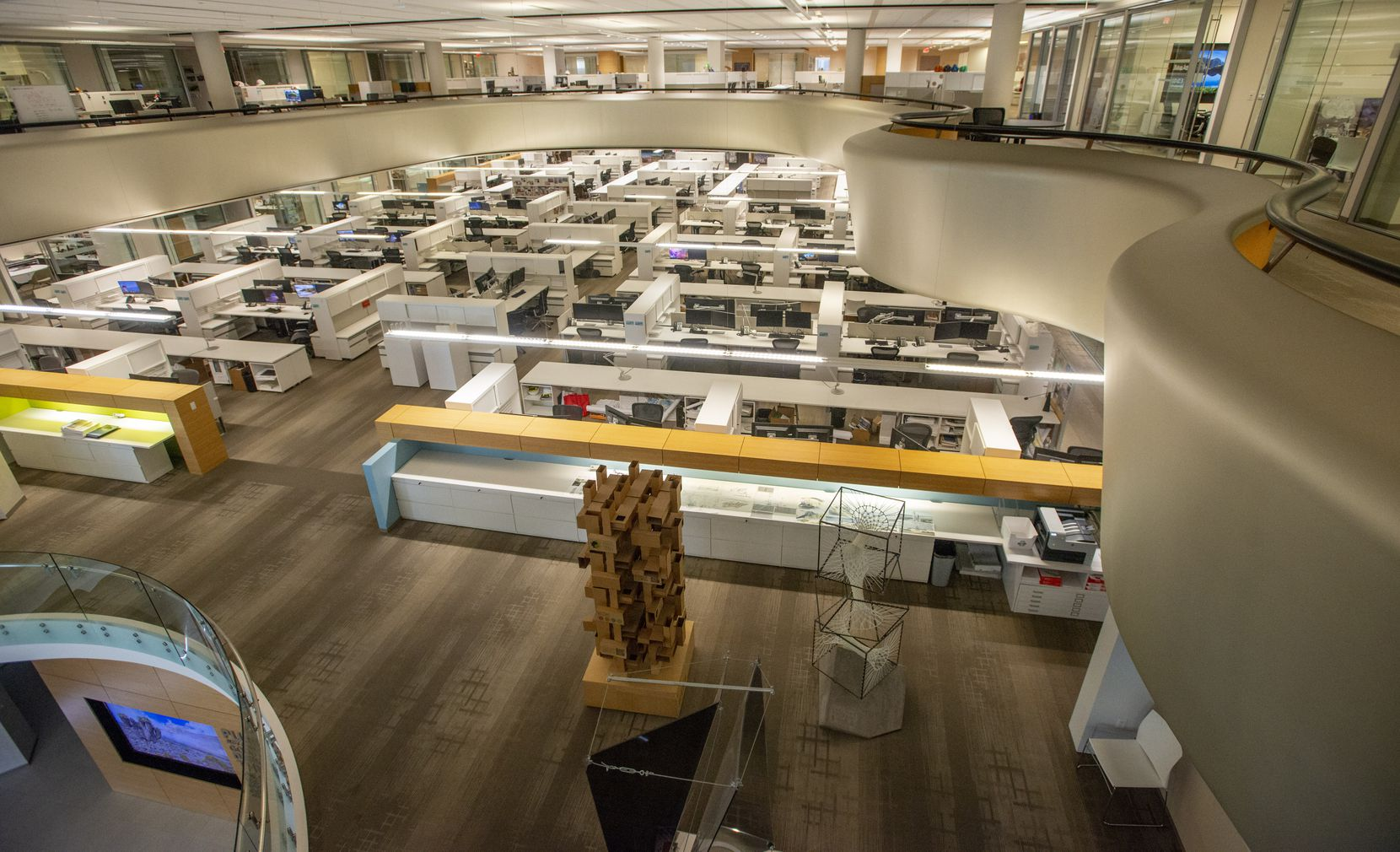 Overhead view of the second-floor space where CallisonRTKL's employees will work in a hoteling office. All workspaces are now unassigned and employees will use an app that allows them to reserve workspaces. Photo shot on 08/26/2020. (Robert W. Hart/Special Contributor)