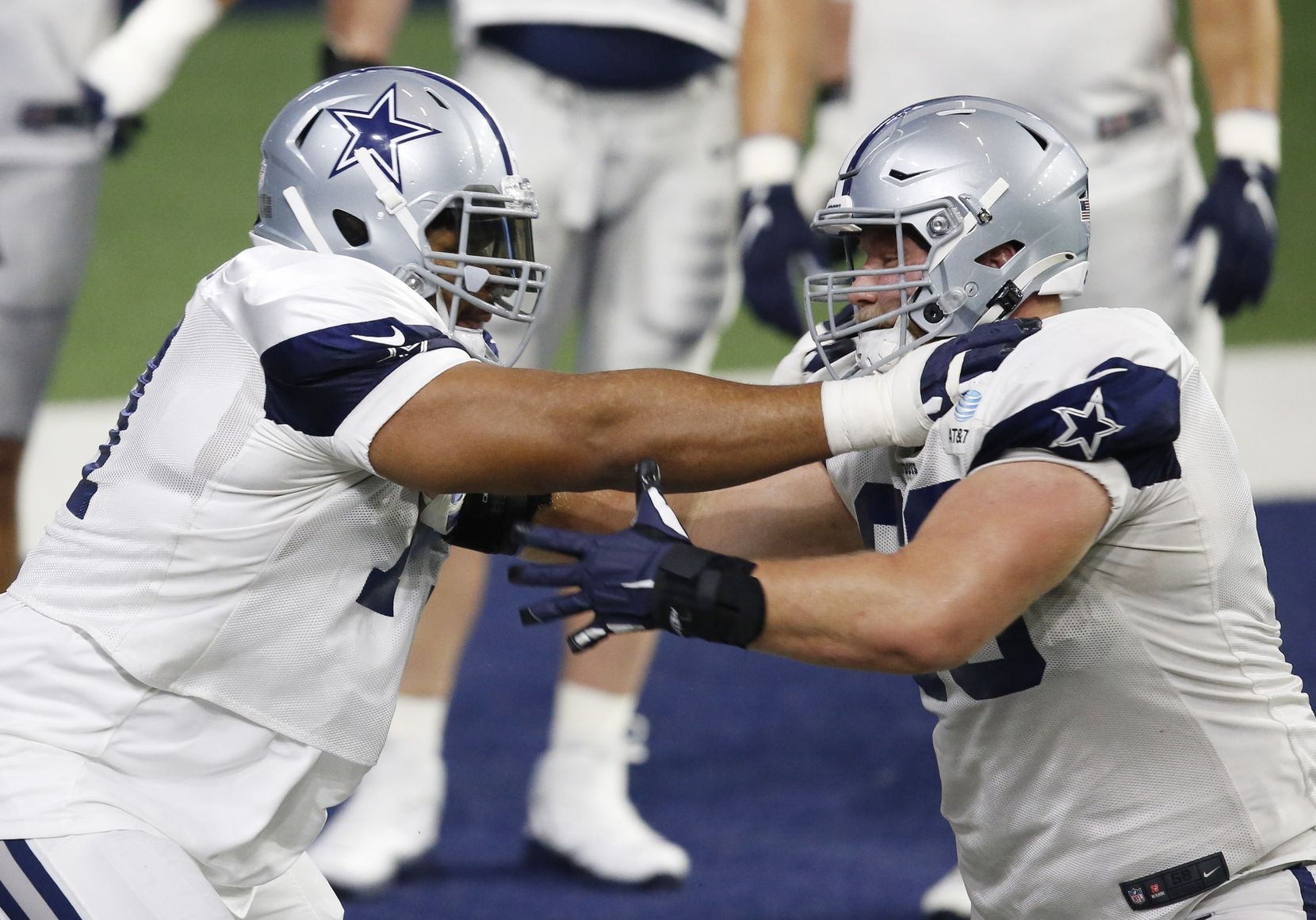 Dallas Cowboys offensive tackle La'el Collins (71) blocks Dallas Cowboys center Tyler Biadasz (63) in practice during training camp at the Dallas Cowboys headquarters at The Star in Frisco, Texas on Thursday, August 27, 2020. (Vernon Bryant/The Dallas Morning News)