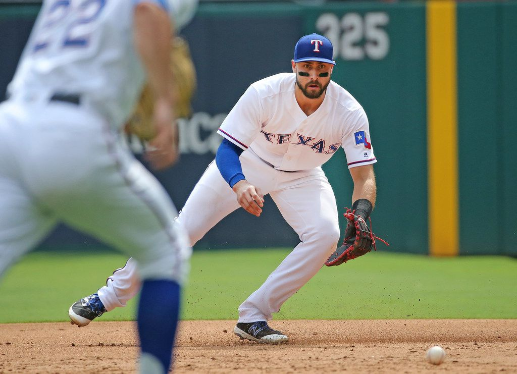 Texas Rangers first baseman Joey Gallo (13) is pictured during the Houston Astros vs. the Texas Rangers major league baseball game at Globe Life Park in Arlington, Texas on Wednesday, September 27, 2017. (Louis DeLuca/The Dallas Morning News)