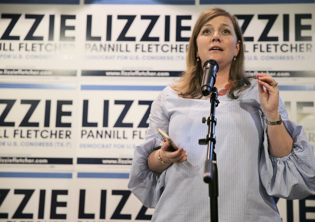 Lizzie Pannill Fletcher gives an acceptance speech during her election night party at Buffalo Grill on Tuesday, May 22, 2018 in Houston. Fletcher was in a runoff to be the Democratic candidate for Texas' 7th Congressional District against Laura Moser. (Elizabeth Conley/Houston Chronicle via AP)