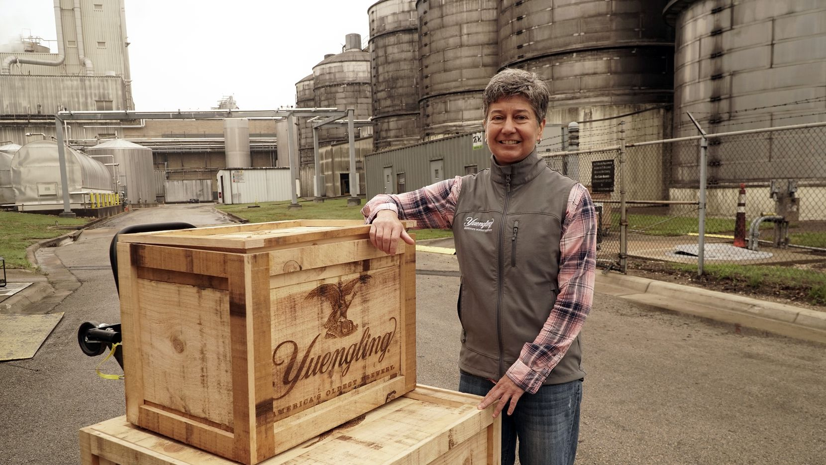 Jennifer Yuengling poses with the Yuengling recipe at Molson Coors' facility in Fort Worth on May 11, 2021.