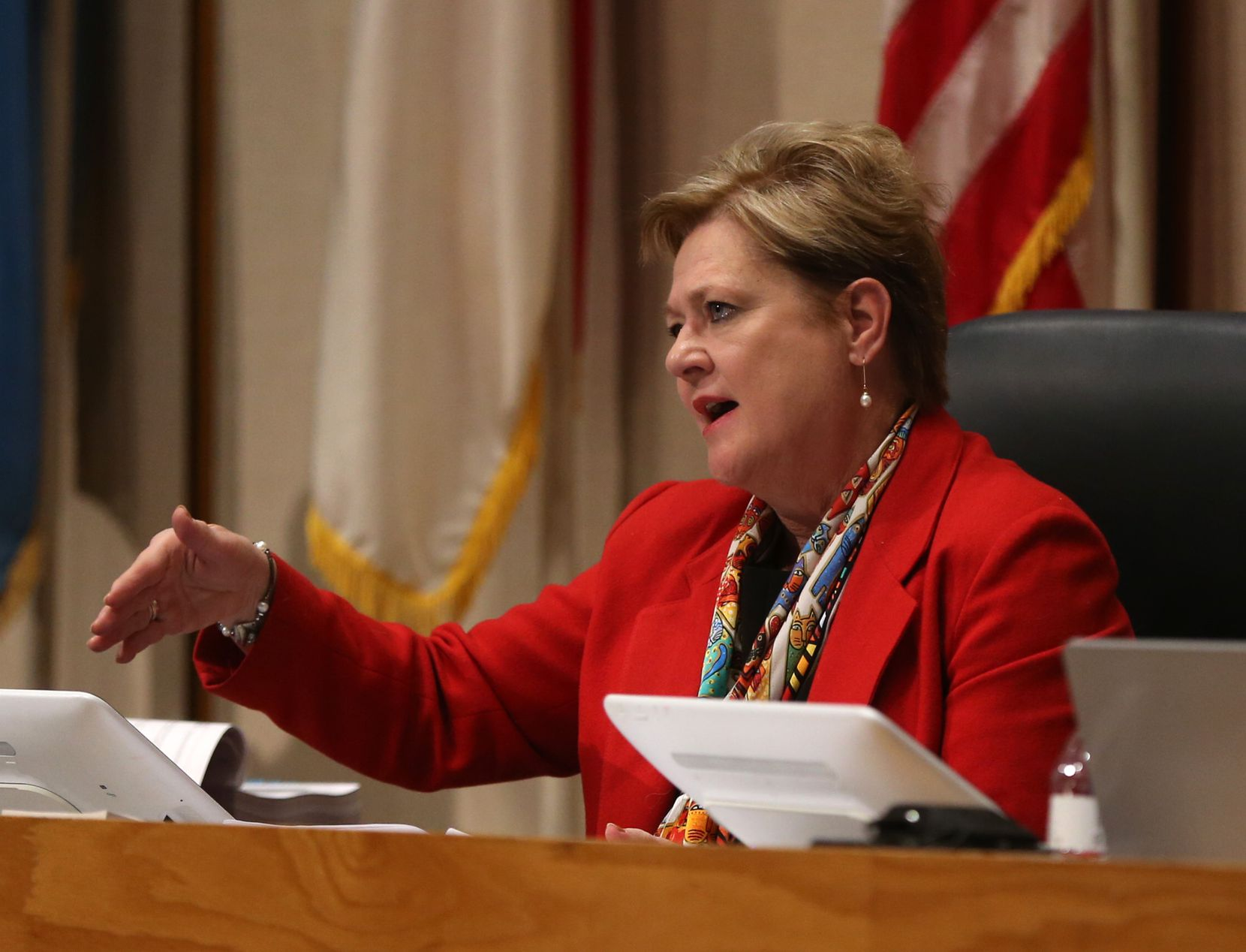 Dallas County Commissioner Theresa Daniel speaks during a Feb. 19 Commissioners Court meeting. (Rose Baca/Staff Photographer)