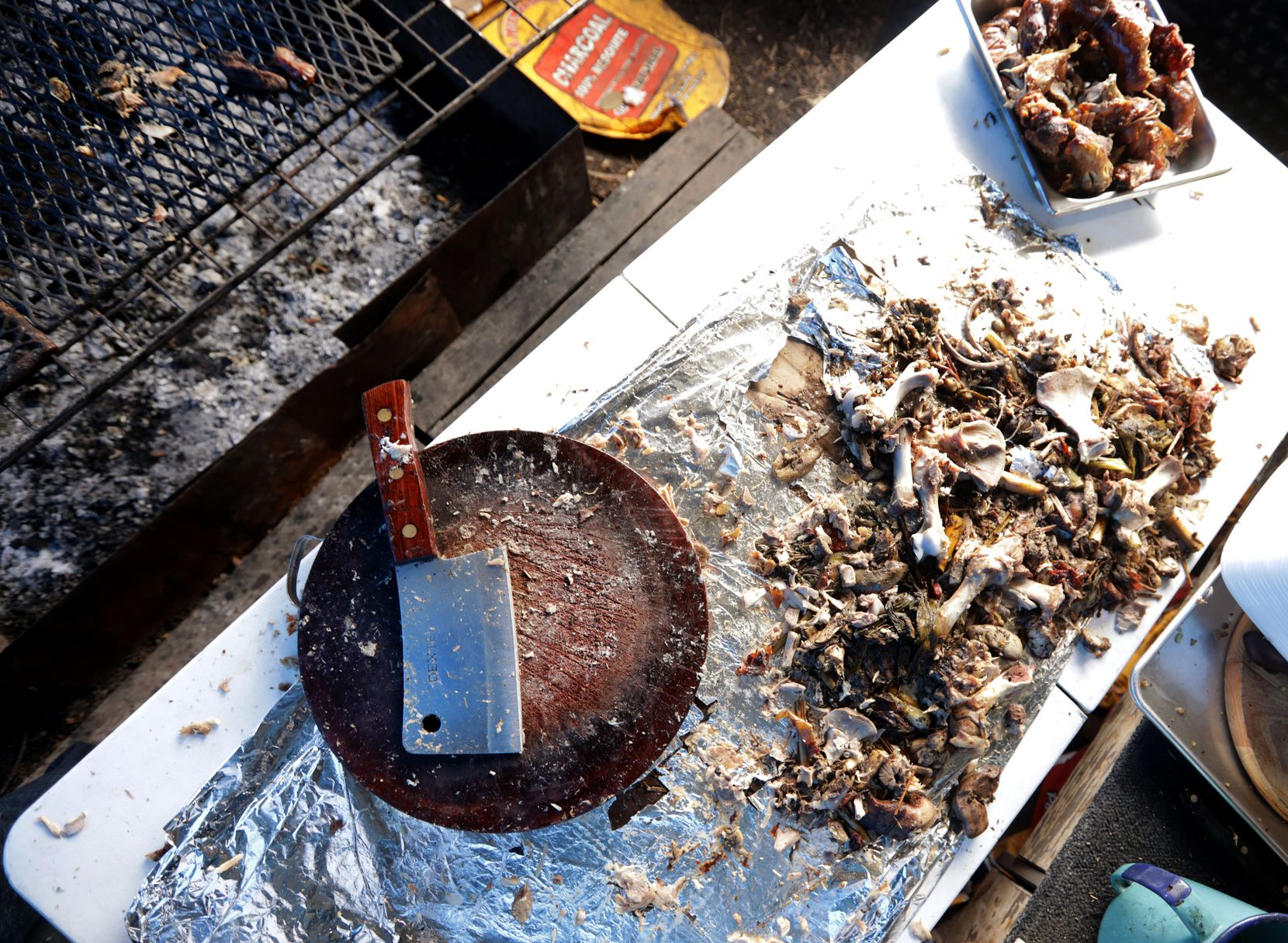 Some of the tools used to prepare the pit-roasted pork.