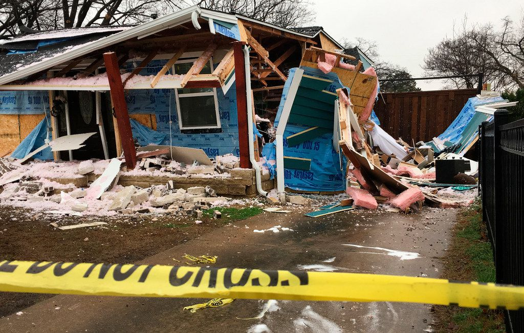 A gas explosion rocked this house, sending five people to the hospital in the 3500 block of Espanola Drive in Dallas on Feb. 23, 2018. This is the third incident in three days where someone was injured in a gas-related accident in the neighborhood.