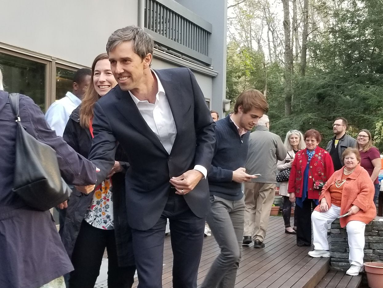Beto O'Rourke stumped in Salem, N.H., on Thursday with his wife, Amy.