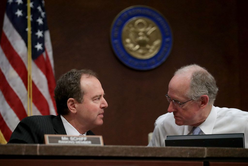 House Intelligence Committee ranking member Rep. Adam Schiff, D-Calif., (left) and Rep. Mike Conaway, R-Midland, who is heading the committee's investigation into Russian interference in the 2016 presidential elections, speak during a hearing on June 21.